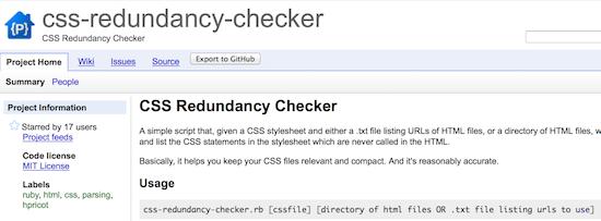 css redundancy checker