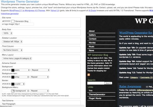 WordPress Theme Generator - Free Website Tools